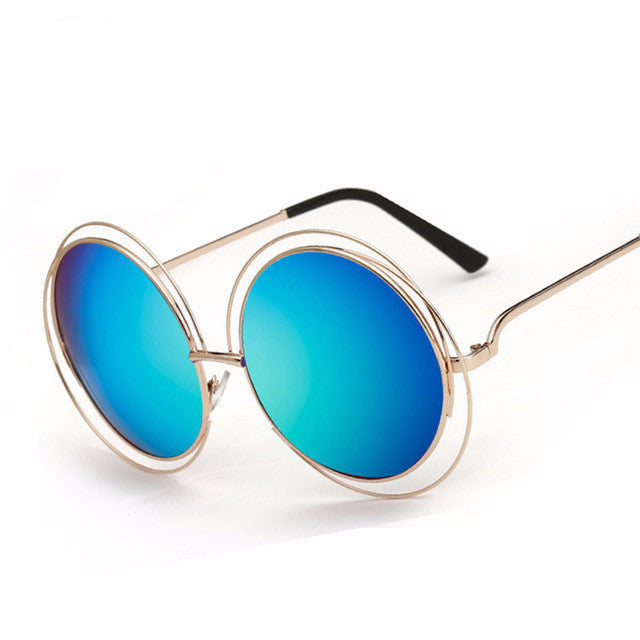 Round Wire Frame Reflective Coating Vintage Sunglasses - simplifybox