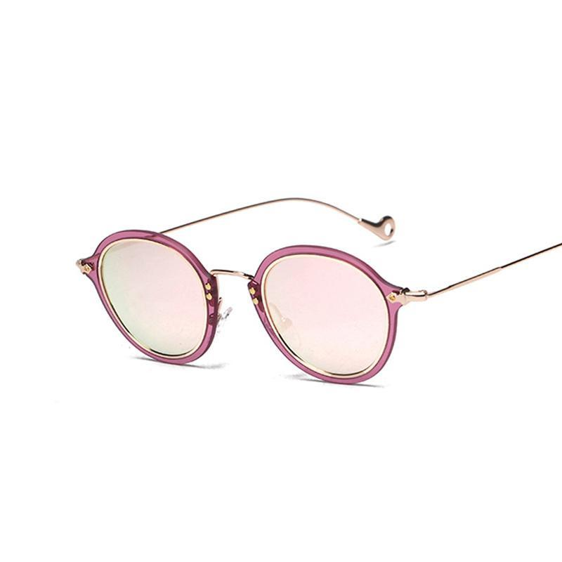 Round Retro Coating Mirror Steampunk Sunglasses