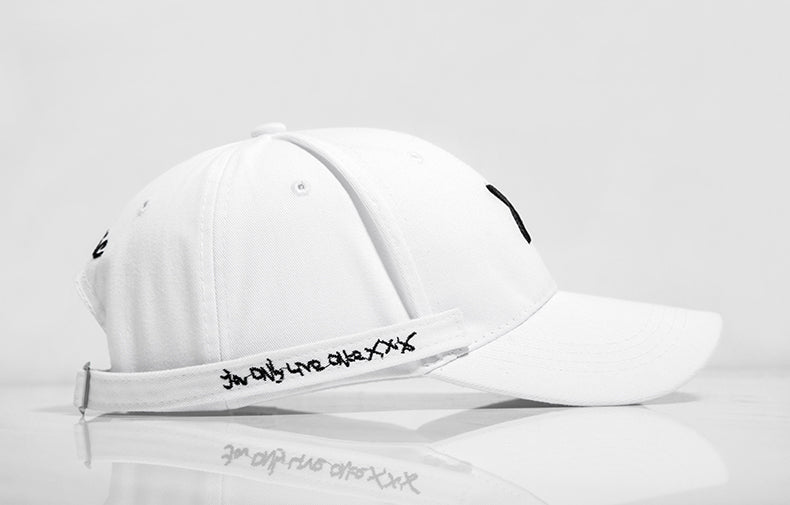 Long Belted Xotic Baseball Cap (White) - simplifybox