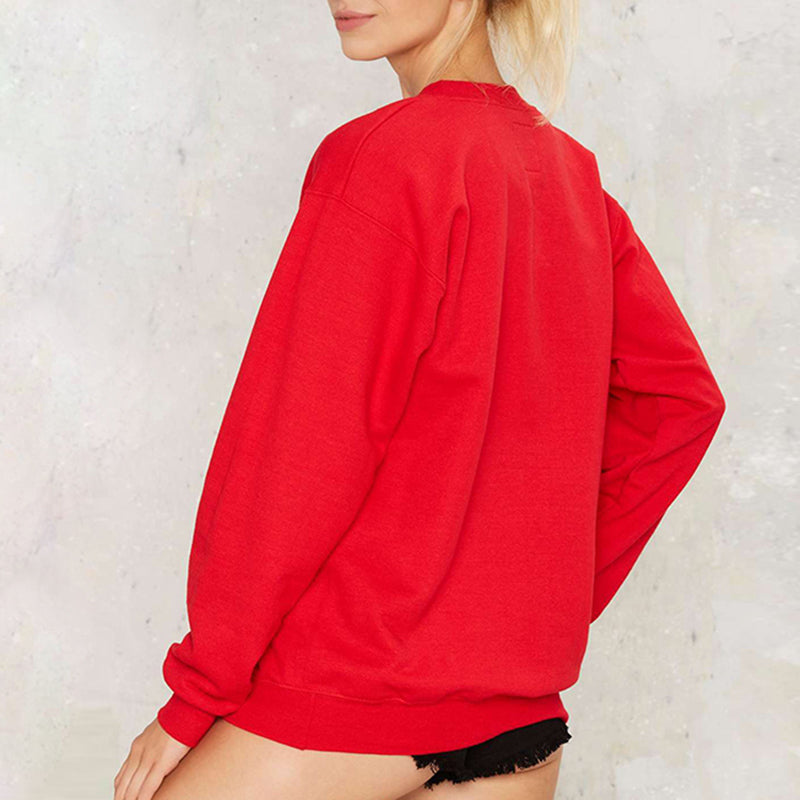CHILL Solid Red Loose Sweatshirt - simplifybox