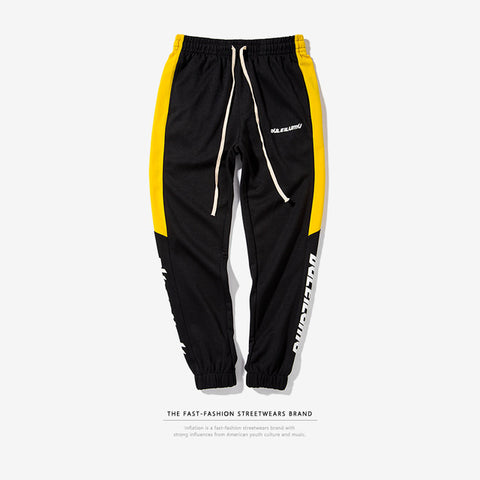 DULEILUMU Printing Side Stripe Pockets Vintage Sweatpants