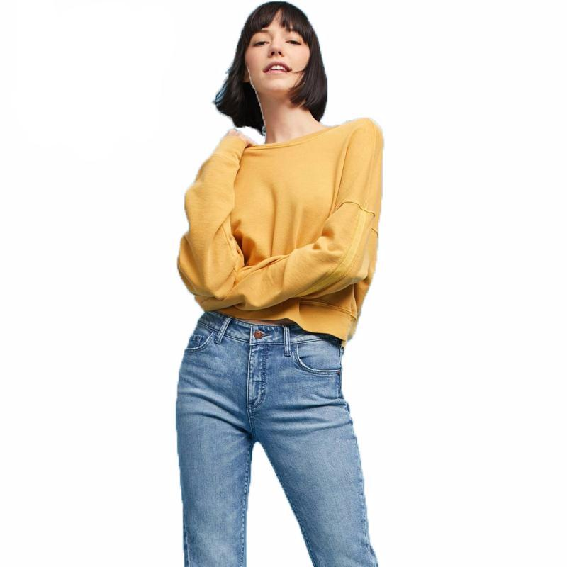Solid Yellow Casual Long Sleeve T-shirts - simplifybox
