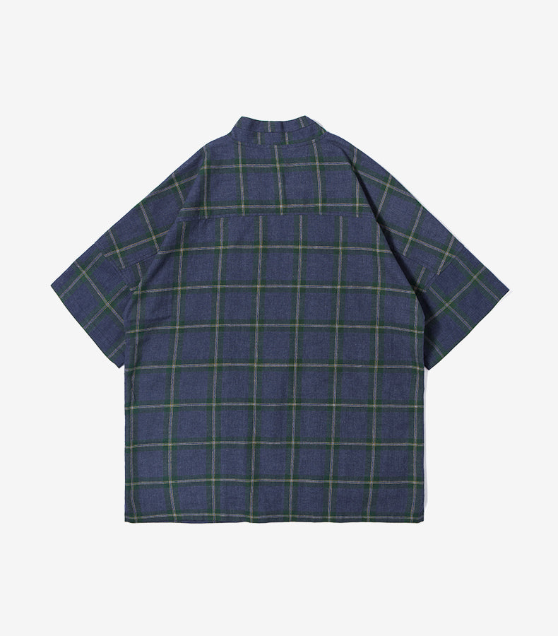 Checked Short Sleeve Shirt Janpanese Kimono Style - simplifybox