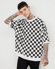 Black White Plaid Men Short Sleeve T-shirts - simplifybox