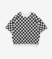 Black White Plaid Short Sleeve T-shirts - simplifybox