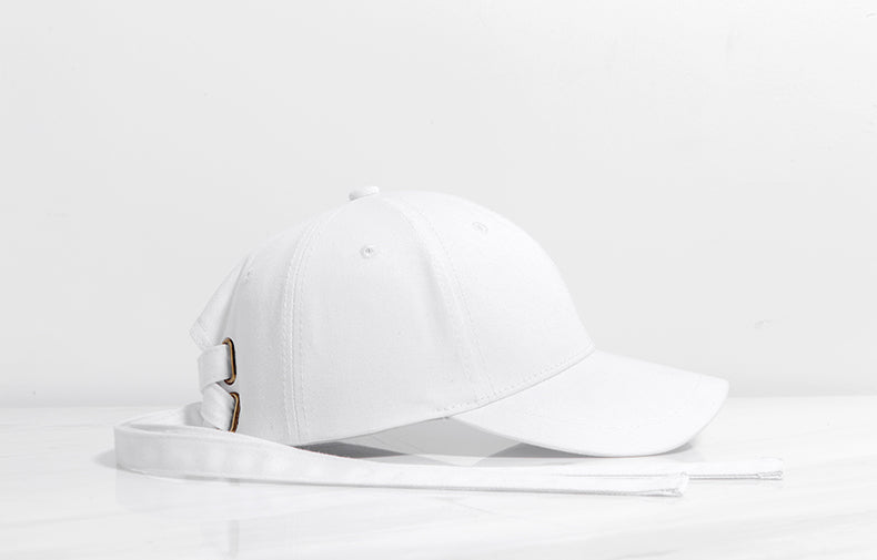 Long Strap Baseball Cap (White)