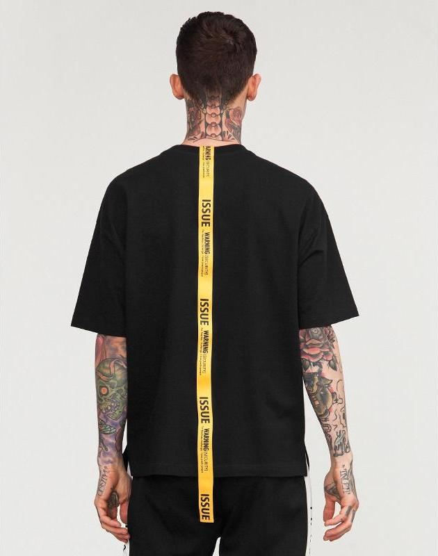 ISSUE Warning Yellow Long Ribbon Loose T-shirt