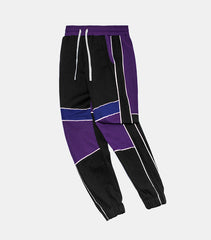 Black Purple Patchwork Jogger Sweatpants - simplifybox