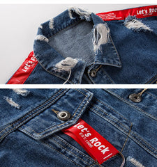 Let's Rock Ribbons Sleeve Ripped Hole Jean Jacket - simplifybox