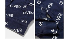 OVER Letter Printing Denim Jacket - simplifybox