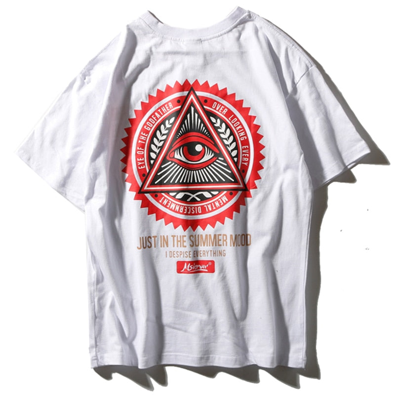 Geometry Triangle T Shirts Men Eye of Godfather - simplifybox