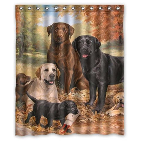 Eco-Friendly Waterproof Labrador Dog Shower Curtain with Hooks
