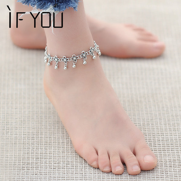 2017 Hot Vintage Bracelet Foot Jewelry Pulseras Retro Anklet For Women / Girl Ankle Leg Chain Charm Bracelet Fashion Jewelry