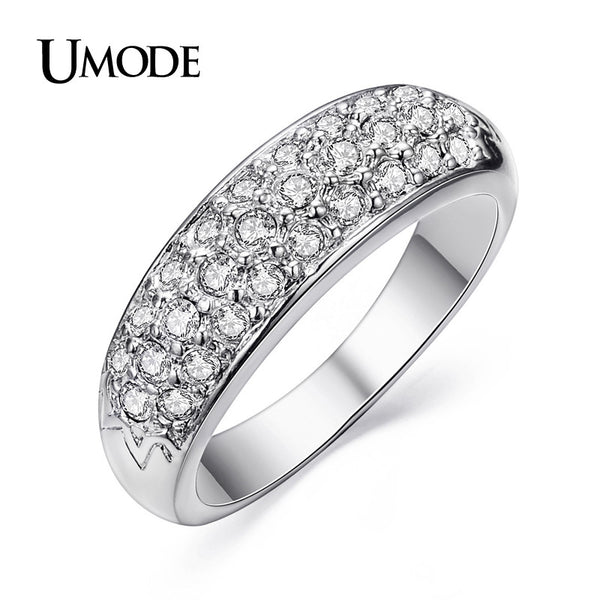 UMODE Fashion Classic Hot Sale Rhodium Plated Rhinestones Studded Alloy Finger Rings For Women JR0084B