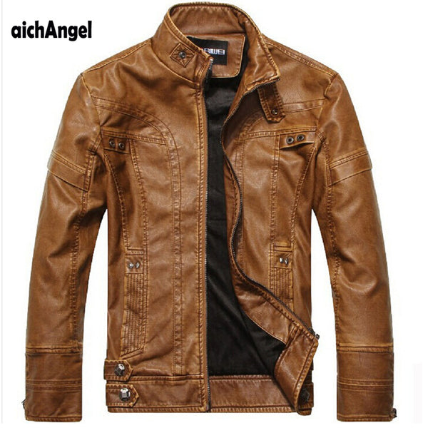 aichAng Motorcycle Leather Jackets Men Autumn Winter Leather Clothing Men Leather Jackets Male Business casual Coats
