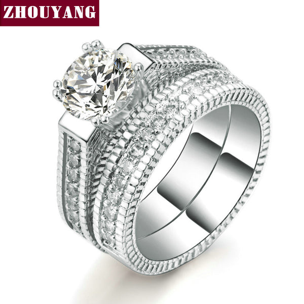 Silver Color Luxury 2 Rounds Bijoux Fashion Wedding Ring Set Cubic Zirconia Jewelry For Women As  Gift