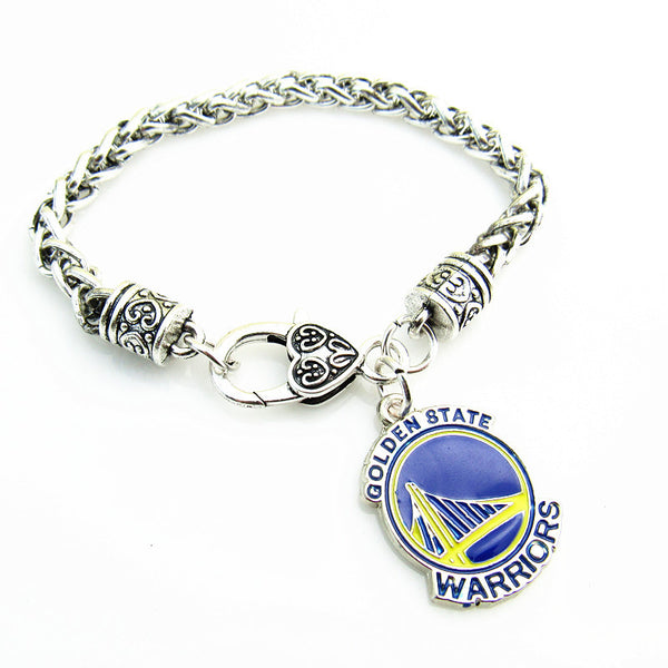 1pcs Antique Silver Plated  Golden state warriors  Bracelet on 20cm Heart Lobster Clasp Wheat Link Chain