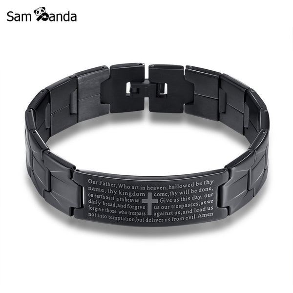Stainless Steel Jesus Cross Bracelet Men Jewelry Silver Black English Lord's Prayer Bracelets & Bangles 2017 Christmas Gifts