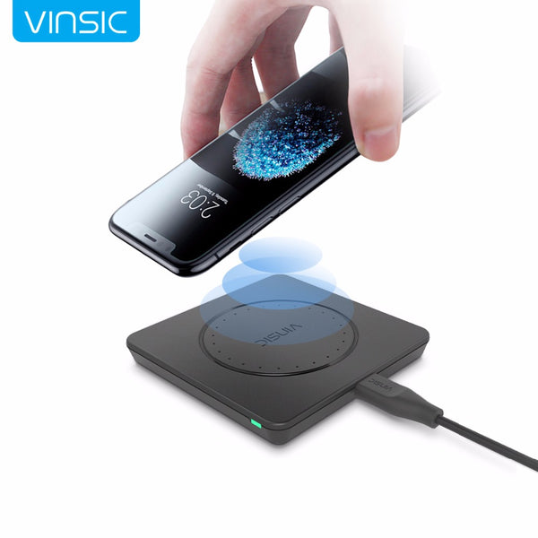 Vinsic Original Qi Wireless Charger Charging Pad for iPhone 8 8+ iPhone X Samsung Galaxy S7 Edge S6  Note 5 and Qi Enable Device