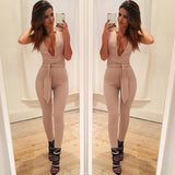 Black Deep V Fitted Sexy Bodycon Jumpsuit Nightclub For Women Romper Blue Burgunday Rosy