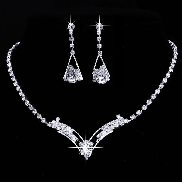Women Sparkling V Shaped Rhinestone Crystal Necklace Earrings Set Charm