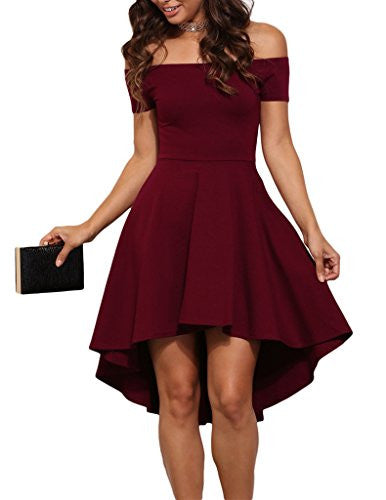Women Off Shoulder Sleeve High Low Skater Dress