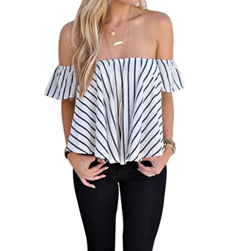Women's Off Shoulder Stripe Casual Blouse Shirt Tops