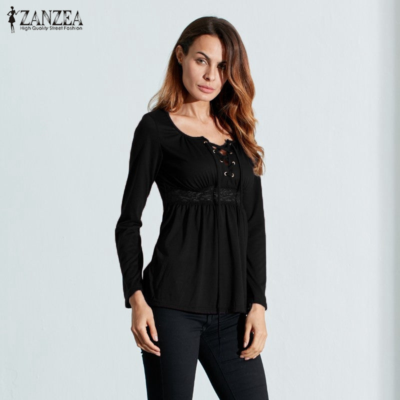 Women V Neck Lace Up Long Sleeve Splicing Lace Shirt
