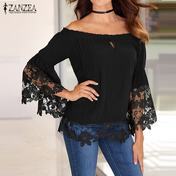 Women Off Shoulder Flare Long Sleeve Patchwork Lace Shirt