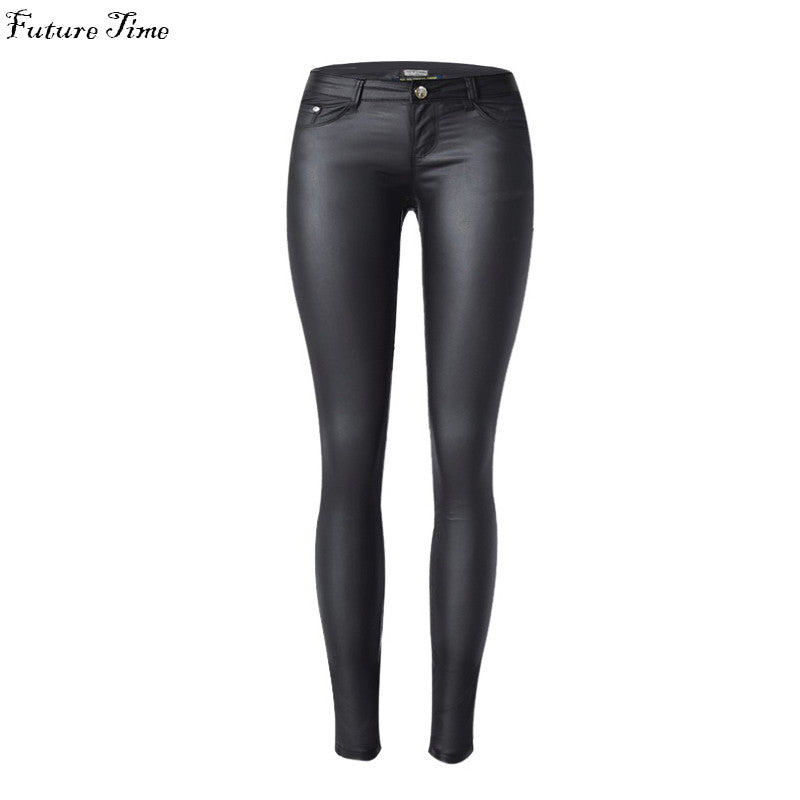 Women jeans stretch elastic Faux leather jeans low waist slim skinny pencil pants washed coated jeans