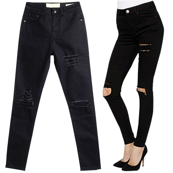 Women  High Waist Skinny Ripped Black Jeans