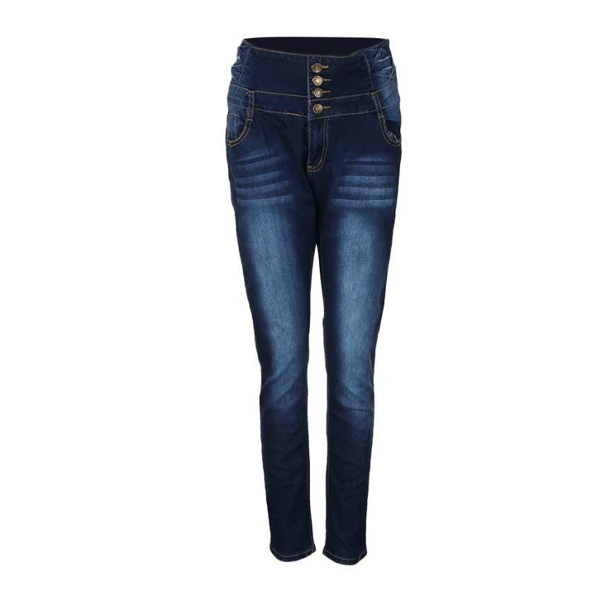 Women Pencil Pants High Waist Elasticity Jeans Solid Blue Skinny Jeggings Skinny Pants Slim Fit