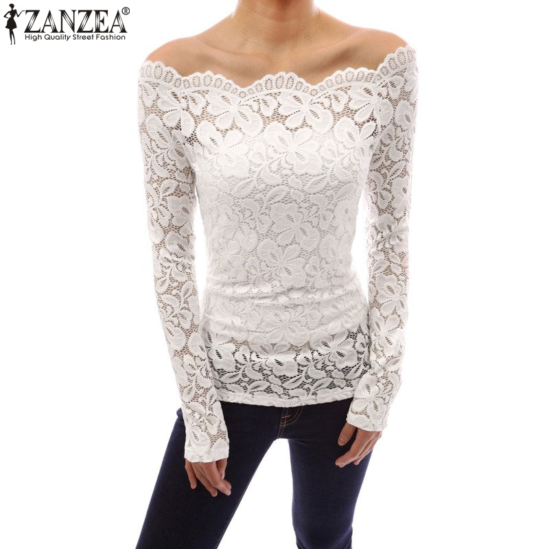 Zanzea Fashion Blusas 2017 Autumn Sexy Women Blouses Off Shoulder Lace Crochet Shirts Long Sleeve Casual Tops Blouse Plus Size