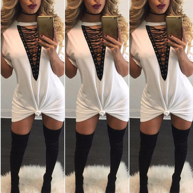 T Shirt Dress Women Deep V Neck Lace Up  Body con Bandage Party Dresses Casual