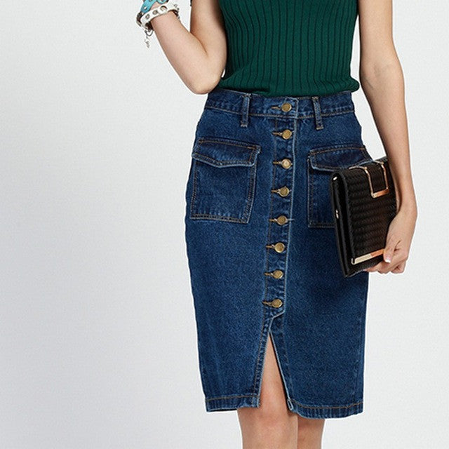 Womens Skirt Jeans Single Breasted Jupe Fashion Slim Fit Ladies Rokjes Elegant Solid Denim Skirts with Double Pocket Split Saias