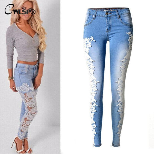 Women Fashion Side Lace Jeans Hollow Out Skinny Denim Jeans Woman Pencil Pants Patchwork Trousers for Women