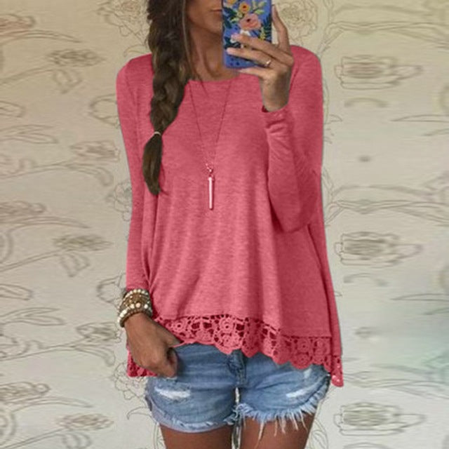 Women Long Sleeve O-Neck Casual Lace Crochet Embroidery Shirt