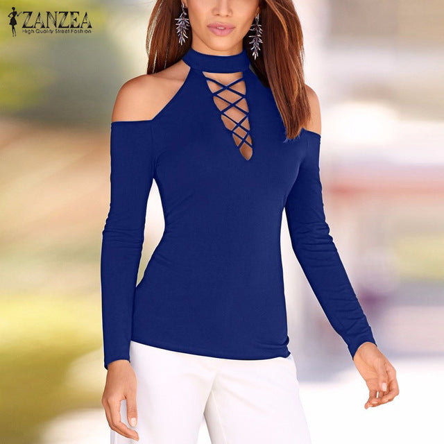 Women Lace Up Off Shoulder Long Sleeve Shirt