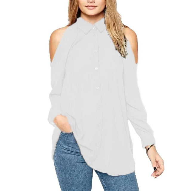 Women Off Shoulder Long Shirt