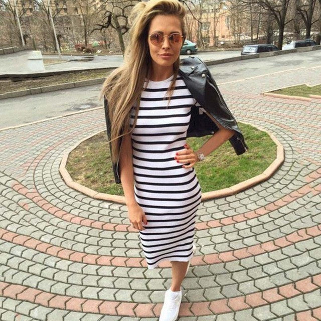 Women Dress Short Sleeve Striped Dress O-Neck Slim Fit Body con Dress  T Shirt Sheath Dress women clothing