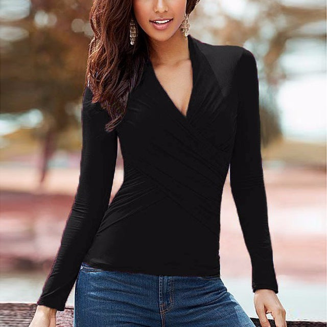 Women V Neck Long Sleeve Shirt