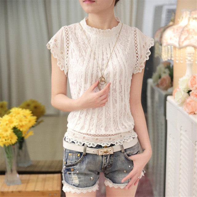 Women Loose Short Petal Sleeve Floral Lace Tops Chiffon O-neck Plus Size Shirt Tops