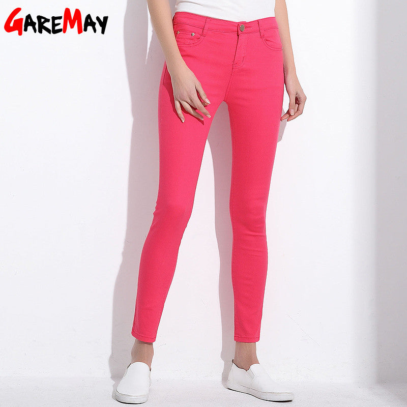 Women's Candy Pants Pencil Trousers Khaki Stretch Pants For Women Slim Ladies Jean