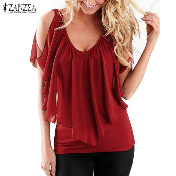 ZANZEA Women 2017 Summer Blusas Sexy Off Shoulder V Neck Splicing Chiffon Solid Blouses Shirts Fashion Plus Size Tee Tops