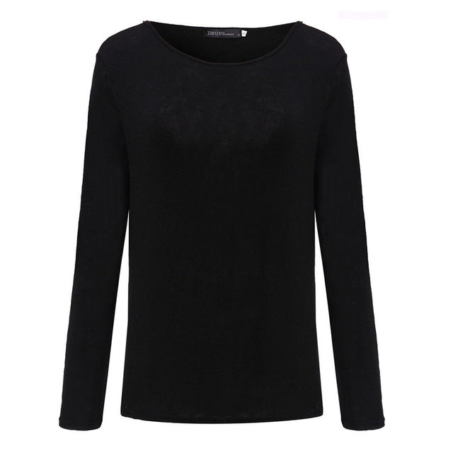 Women  Casual O Neck Long Sleeve Cotton Shirt