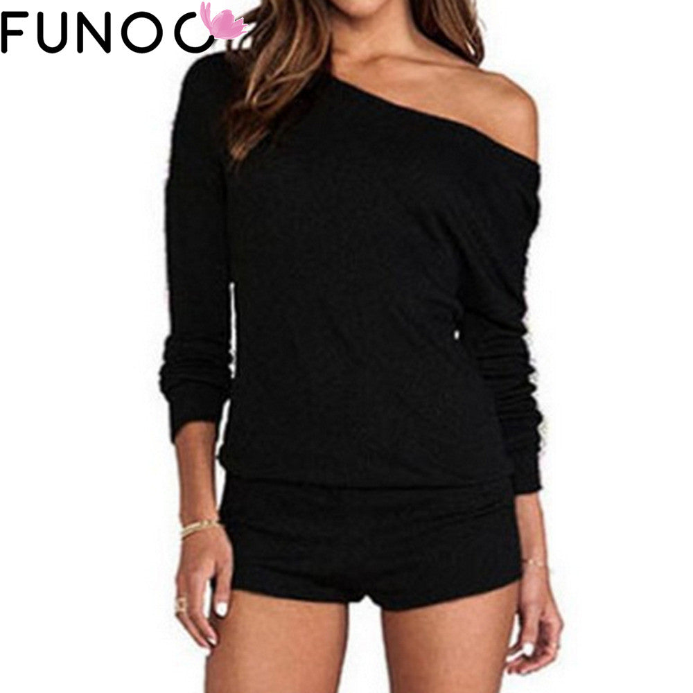 Women Jumpsuits Bodysuits One Shoulder Long Sleeve Rompers Top Shorts Casual