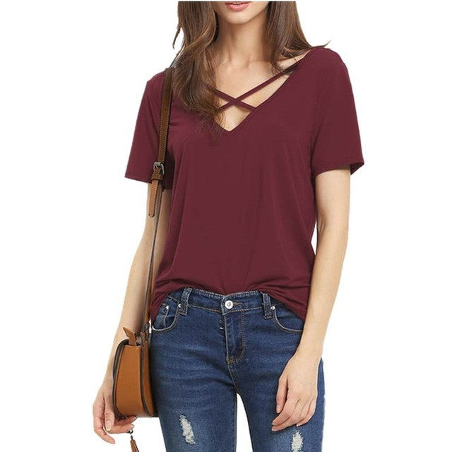 Women  Short Sleeve V Neck Bandage T Shirt Casual