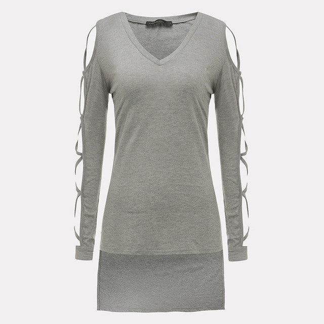 Women Hollow Out Long Sleeve V neck T-shirt Fashion Ladies Side Split Long Tops Shirt