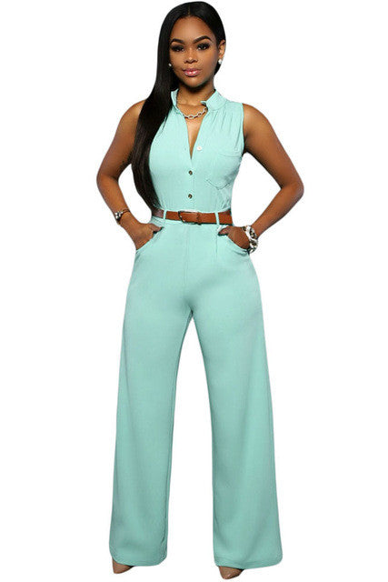 Zkess Jumpsuit Long Pants Women Rompers Sleeveless XXL V-neck 2017 Belt Solid Sexy Night Club Elegant Slim Jumpsuits Overalls