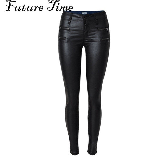 Women jeans faux PU leather jeans coated slim skinny pencil pants stretch tight